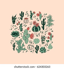 Seamless pattern with succulents and flowers. Vector background