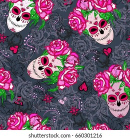Seamless pattern with sugar skull and pink roses. Day of the dead (Dia de los muertos). Happy Halloween. Vector.
