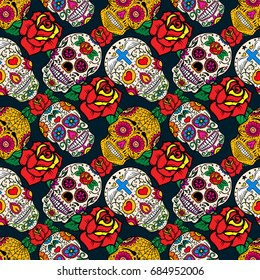 Seamless pattern with sugar skulls and roses. Dead Day. Dia de los Muertos. Vector illustration