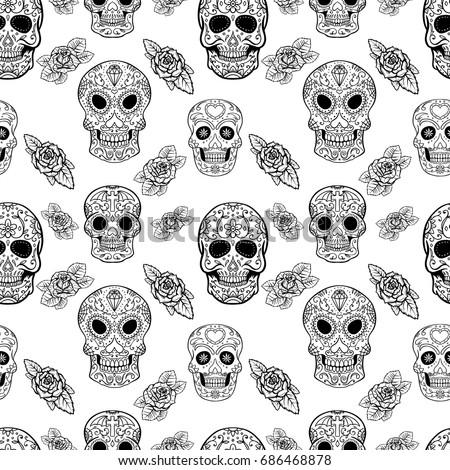 seamless pattern sugar skulls roses dead stock vector royalty free