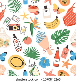 Seamless pattern with summer attributes on white background - exotic leaves, bouquet, swimsuit, straw hat, photo camera, flowers, fresh fruits and berries. Flat bright colored vector illustration