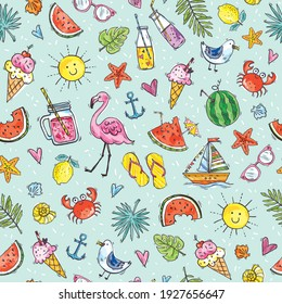 Seamless pattern. Summer background. Cute summer icons: food, drinks, tropical leaves, fruits, flamingo, crab, seagull. Vector flat style design. Doodle. Texture for wrapping paper, fabric, cards