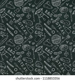 Seamless Pattern of Summer BBQ Grill Party. Steak, Sausage, Barbeque Grid, Tongs, Fork, Fire, Ketchup. Black Board Background and Chalk. Hand Drawn Vector Illustration. Doodle Style.