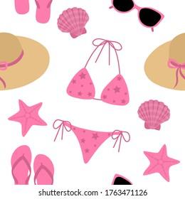 Seamless pattern summer beachwear swimsuit hat bag sunglasses pink slates vector illustration