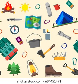 Seamless pattern of summer camping, outdoor icons. Isolated vector illustration.
