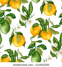 SEamless pattern summer citrus fruit branches of lime and orange tree with flowers in vector graphic illustration in bright colors
