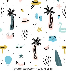 Seamless pattern with summer elements. Creative vector texture with palm tree,bikini,hat,sunglasses