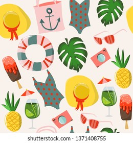 Seamless pattern with summer elements:  icecream, sunglasses, tropical leaves, swimsuit, pineapple, cocktail, hat, handbag, flip flops, towel. Colorful hand drawn vector illustration.