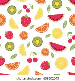 Seamless pattern with summer fruits