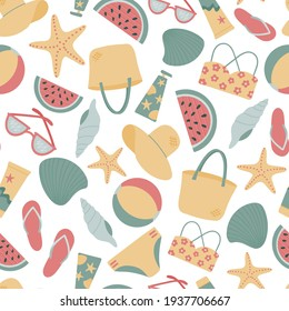 Seamless pattern with summer items for relaxing on the beach and by the pool. Vector flat illustration, hand drawn. Pattern white background. Design for printing on fabrics, textiles, packaging.