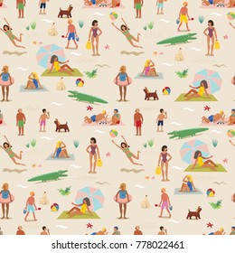 Seamless pattern. Summer vacation on a sandy beach. A lot of people are sunbathing. A beautiful sunny day.
