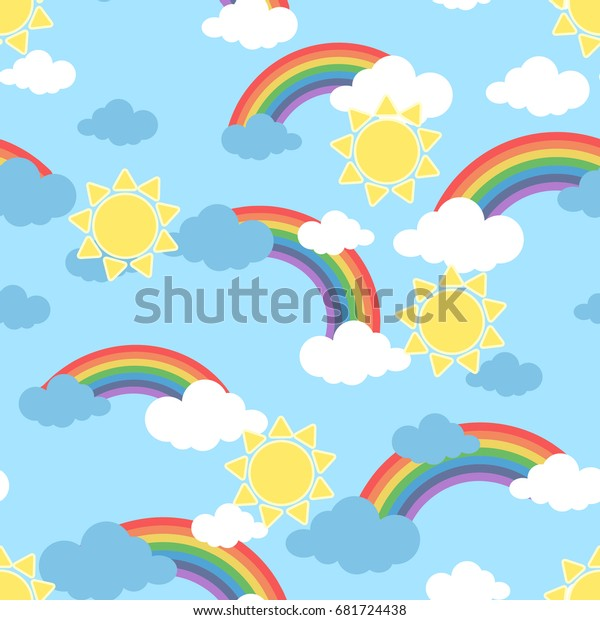 Seamless Pattern Sun Clouds Rainbow Wallpaper Stock Image