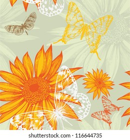 Seamless pattern with sunflowers and butterflies, hand drawing. Vector illustration.