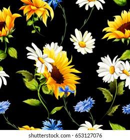 Seamless pattern of sunflowers, chamomile (camomile), cornflowers on black. Vector - stock