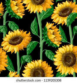 Seamless pattern with sunflowers on a black background.