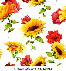 Seamless pattern of sunflowers with pomegranate buds on white. Abstract. Hand drawn. Watercolor. Vector - stock