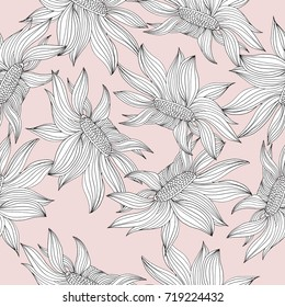 Seamless pattern with sunflowers. Vector illustration