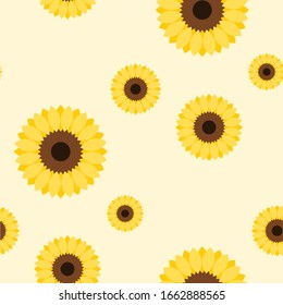 Seamless Pattern with Sunflowers. Vector Image.
