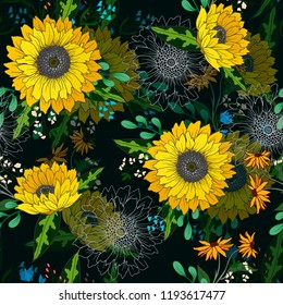 Seamless pattern with sunflowers and wild flowers.