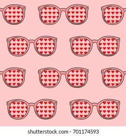 seamless pattern. sunglasses with hearts. pink background.