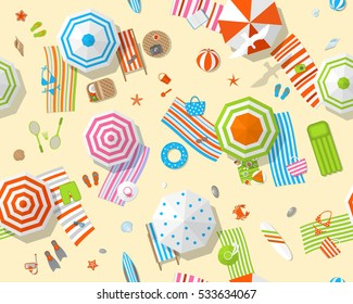 Seamless pattern. Sunny beach view from above. Summertime - sand, umbrellas, towels, chairs, clothes, objects. (Top view)