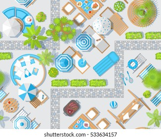 Seamless pattern. Sunny patio view from above. Summertime - umbrellas, path, swing, grill, palm, sunbeds, chairs, tables. (Top view)