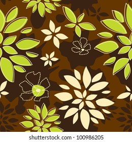 Seamless Pattern Sunny Summer, Leaves, green and brown color variation.  Pattern color swatch included