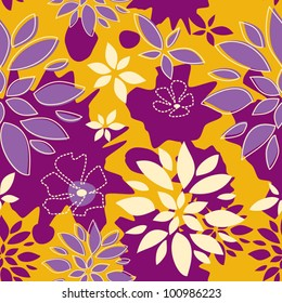 Seamless Pattern Sunny Summer, Leaves, lilac purple and yellow color variation. Pattern color swatch included