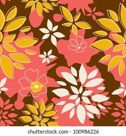 Seamless Pattern Sunny Summer, Leaves, pink and brown color variation.  Pattern color swatch included