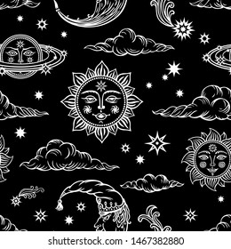 Seamless pattern of suns, months, comets, clouds and planets on a black background. Graphic design in the old style depicting the sky and celestial bodies, graphic print for various designs.