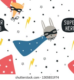 Seamless pattern of superhero Fox and hare . Vector illustration, handmade, for printing on a postcard, clothes, poster, banner. Cute baby background with funny animals.