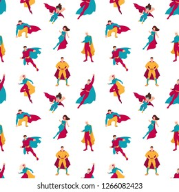 Seamless pattern with superheroes or men and women with super powers. Backdrop with supermen and superwomen on white background. Flat cartoon vector illustration for wrapping paper, textile print.