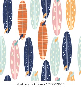 Seamless pattern with surfboards. Fashion summer print. Vector hand drawn illustration.