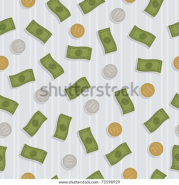 seamless pattern swatch of falling money with clipping mask