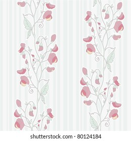 seamless pattern with sweet pea ornament