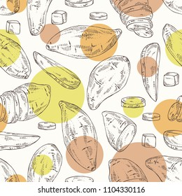 Seamless pattern with sweet potato: root and sweet potato slice. Vector hand drawn illustration.