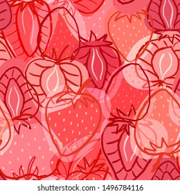 Seamless pattern with sweet strawberries, textile print, vector wallpaper