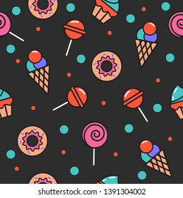 Seamless pattern of sweets, donut, lollipop, cupcake, ice cream. Background for kids cafe menu, wrapping paper. Vector banner