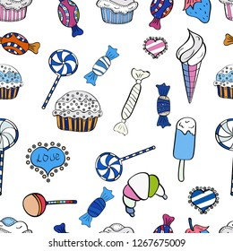 Seamless pattern with sweets - ice cream, cupcakes isolated on cute black, white and blue background. Vector. Can use for birthday card, the children menu, packaging, textiles, fabrics, wallpaper.