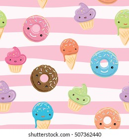 Seamless pattern with sweets - ice cream, donuts, cupcakes isolated on linear white and pink background. Can use for birthday card, the children's menu, packaging, textiles, fabrics, wallpaper