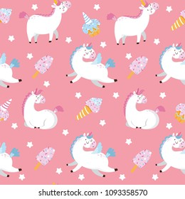 Seamless pattern with pattern and sweets on pink background. Vector illustration