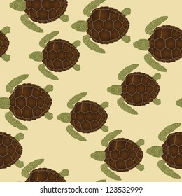 Seamless pattern with swimming sea turtles