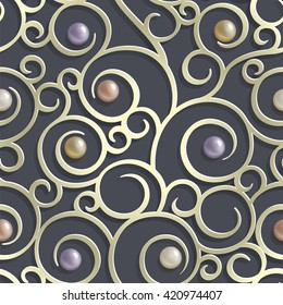 seamless pattern with swirls and pearls