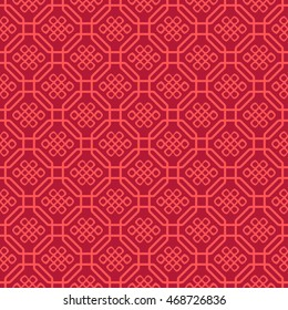 Seamless Pattern of Symbol of Knot of Eternity inside Lattice of Chinese Style.