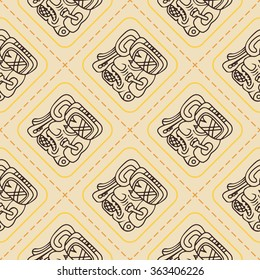 seamless pattern with symbol of the Maya Night Lord for your design