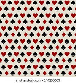 Seamless pattern of the symbols of playing cards. Copy square to the side and you'll get seamlessly tiling pattern