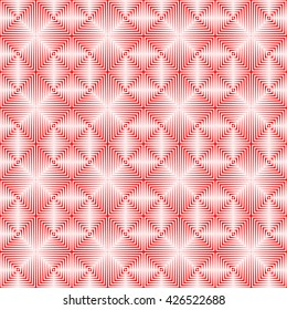 Seamless pattern with symmetric geometric ornament. Repeating breaking red lines abstract background. Abstract repeated stylized squares wallpaper. Vector illustration