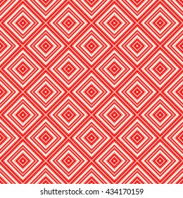 Seamless pattern with symmetric geometric ornament. Red curves with fine cuts abstract background. Ornament picture wallpaper. Vector illustration