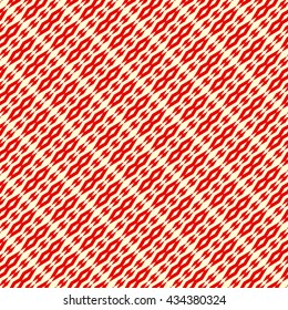 Seamless pattern with symmetric geometric ornament. Red rhombuses, squares and curves abstract background. Ornament picture wallpaper. Vector illustration
