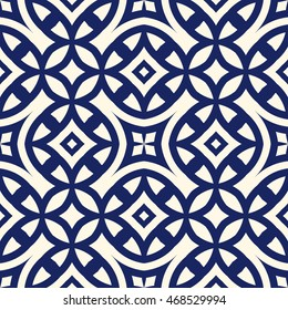 Seamless pattern with symmetric geometric ornament. Navy color abstract background. Vector illustration